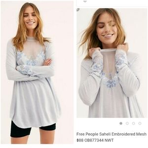 Free People Saheli Mesh and Embroidery Knit Top